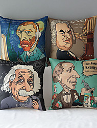 Set of 4 Modern Style Cartoon Famous People Patterned Cotton/Linen Decorative Pillow Covers