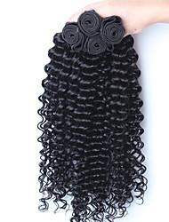 "3pcs / lot 10 ""-26"" color del pelo virginal peruano rizado cabello humano rizado negro natural teje"