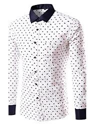Men's Print Casual / Plus Sizes Shirt,Cotton Long Sleeve White