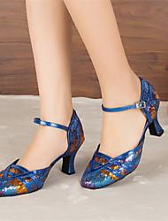 Customizable Women's Dance Shoes Latin / Jazz / Modern / Swing Shoes / Salsa / Samba Paillette Customized Heel Blue