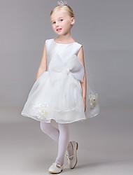 A-line Short / Mini Flower Girl Dress - Organza Sleeveless Jewel with