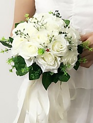 """Wedding Flowers Round Roses Bouquets Wedding / Party/ Evening Pink / Red / White / Purple / Champagne Satin 8.66""""(Approx.22cm)"""