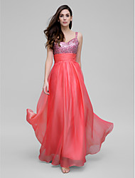 Prom / Formal Evening / Military Ball Dress Sheath / Column Spaghetti Straps Floor-length Chiffon / Sequined with Sequins / Ruching