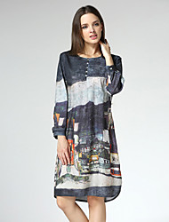 Women's Vintage Print Shift Dress,Round Neck Knee-length Others