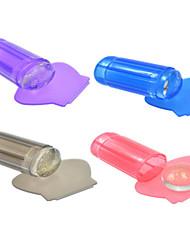 1pcs neue transparente / lila / pink / lila / rose / grau Gelee Nagelkunst Stempel Schaber Nagelkunstpolierdruck Werkzeuge nj115