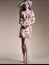 Mulheres Vestido Bainha Simples Floral Acima do Joelho Colarinho Chinês Poliéster