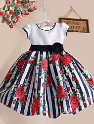 Girls Striped Rose Flower Print Tutu Party Pageant Birthday Princess Baby Children Clothes Dresses