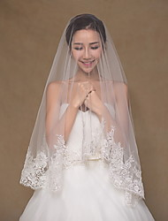 Wedding Veil One-tier Elbow Veils / Fingertip Veils Lace Applique Edge Tulle / Lace Ivory Ivory