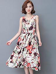 De las mujeres Vaina Vestido Simple Estampado Midi Escote Redondo Lino