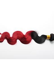 3Bundles Unprocess cabello humano brasileño agitando la onda del cuerpo de color rojo ombre