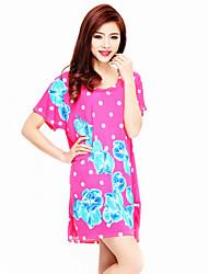 Women's Print Pink T-shirt,Round Neck Short Sleeve