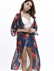 Women's Wild Floral Print Long Sunscreen Beach Bikini Blouse Shirt