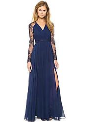 Women's Deep Chiffon Dress Lace Stitching
