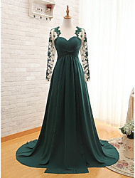 A-Line Sweetheart Sweep / Brush Train Chiffon Formal Evening Dress with Appliques Pleats by Weishang