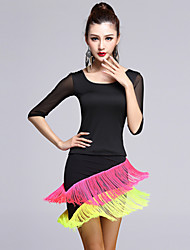 Latin Dance Outfits Women's Performance Tulle / Viscose Tassel(s) 2 Pieces Black Latin Dance Skirt / Top