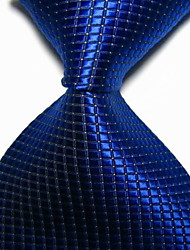 New Royal Blue Checked JACQUARD WOVEN Men's Tie Necktie TIE2017