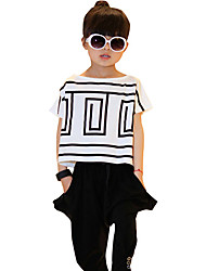 Girl's  Cotton Summer New Tide Korean Medium Or Big Children Bat Shirt Short Sleeve Sport Clothes Set