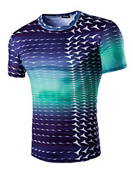 Men's Sports Casual/Daily T-shirt,Print Short Sleeve Cotton