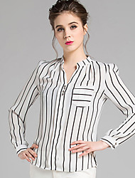 Women's Striped White Blouse,Shirt Collar Long Sleeve