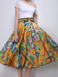 Women's Floral Yellow Skirts,Casual / Day Midi