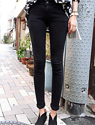 Women's Solid Black Jeans Pants,Street chic