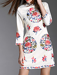 Women's Simple Print Loose Dress,Stand Above Knee Polyester