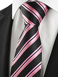 New Striped Pink Black Business Men Tie Necktie Wedding Party Holiday Gift #1002