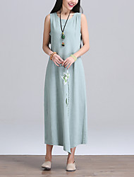 Women's Vintage Tunic Dress,Floral Round Neck Maxi Long Sleeve Green Cotton / Linen Spring