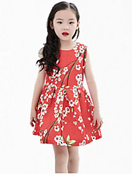 Girl's Pink / Red Dress,Floral Cotton Summer