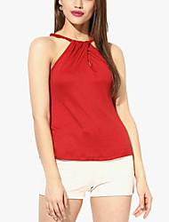 Women's Solid Red Blouse,Halter Sleeveless