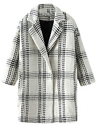 Women's Plaid White / Black Coat,Simple Long Sleeve Polyester