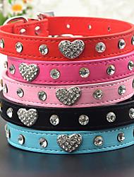 Gatos / Cães Colarinho / Trelas Strass Corações Vermelho / Preto / Azul / Rosa Pele PU