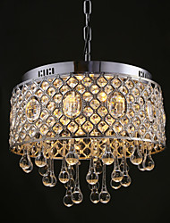 4 Lights-Drum RainDrop Crystal Chandelier
