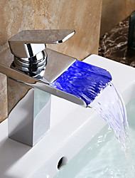 Bathtub Faucet Contemporary LED/Waterfall Brass Chrome/Bathroom Waterfall Faucet Mixer/LED Faucet