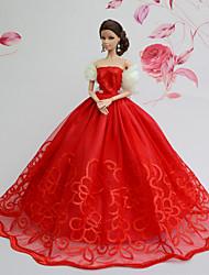 Muñeca Barbie-Rojo-Fiesta y Noche-Organza / Encaje-Vestidos-Vestidos