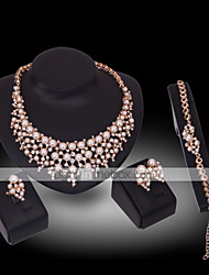 Lucky Doll Diamond 18K Gold Plated Imitation Pearl Rhinestone Necklace & Earrings & Bracelet & Ring Party Jewelry Sets