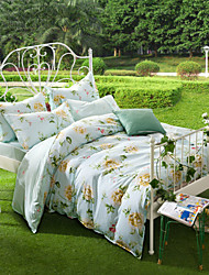 The Mu Xia - Blue, Full Cotton Reactive Printing Pastoral Flowers Bedding Set 4PC, FULL Size