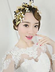Bride's Golden Leaves Imitation Pearl Forehead Wedding Headbands 1 PC