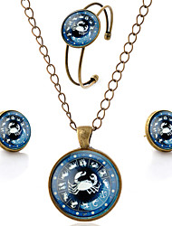 Lureme® Time Gem The Zodiac Series Simple Vintage Style Cancer Pendant Necklace Stud Earrings Bangle Jewelry Sets