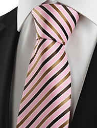 New Striped Brown Pink Men's Tie Suit Necktie Wedding Party Holiday Gift #1035