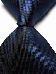 New Solid Navy Dark Blue Checked JACQUARD WOVEN Men's Tie Necktie TIE2033