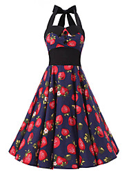 Women's Blue Strawberries Floral Dress , Black Collars Big Buttons Vintage Halter 50s Rockabilly Swing Dress
