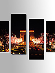 U2art®Landscape Canvas Print Night View of Triumphal Arch Four Panels Ready to Hang , Vertical For Living Room(No Frame)