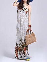 Women's Boho Floral Sheath Dress,Halter Maxi Polyester