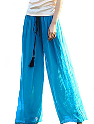 Women's Mid Rise Inelastic Jeans Pants,Boho Wide Leg Solid
