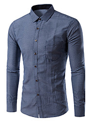 Men's Long Sleeve Shirt,Polyester / Nylon Casual / Work / Formal Pure