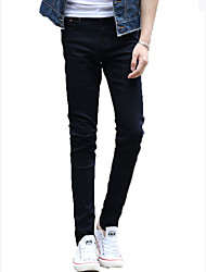 Men's Pure Stretchy Slim Long Demin Jeans,Cotton / Spandex Casual