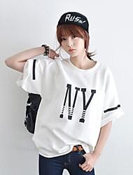 Damen Druck Einfach / Street Schick Lässig/Alltäglich T-shirt,Rundhalsausschnitt Sommer Kurzarm Weiß / Schwarz Baumwolle Dünn