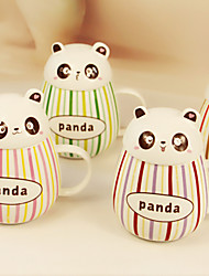 2PCS 400ML Lovely Gout Pot-Bellied Panda Ceramic Glaze Color Bar Mug Cups Water  Cup(Random Color)