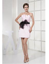 Cocktail Party Dress-Candy Pink Sheath/Column Straps Short/Mini Satin